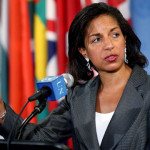 Susan Rice speaks to media after UN security council meeting in May